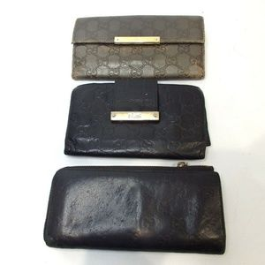 GUCCI 3 monogram set lot of wallets purse Leather